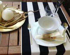 "Beach wedding & bridal shower table runner-black and white stripes-table settings-cotton-2.5"" wide stripes. $20.00, via Etsy."