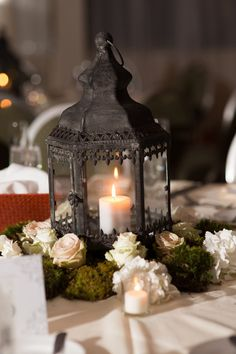 Lantern & Moss Centerpiece  Meghan & Abdiel's Wedding Photo By Kerri Lynne Photography