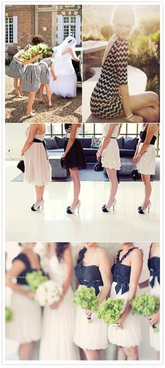 LOVE these black and white bridesmaid dress ideas (especially the bottom photo!) - Wedding Day Pins : You're Source for Wedding Pins! White Bridesmaid Dresses, Wedding Bridesmaids, Wedding Attire, Wedding Dresses, Bridesmaid Flowers, Wedding Wishes, Wedding Bells, Wedding Inspiration, Wedding Ideas