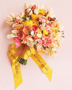 Personalized Wedding Bouquet Ribbon    Many brides save their bouquets, but dried flowers can look a tad Miss Havisham. Instead, turn the ribbon used for the stems into a keepsake by having your vows printed on it.