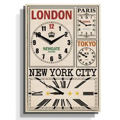 Newgate Clocks - World Traveller's World Time Zone Clock - 62 x 43 x 4.5cm
