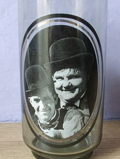 collectible drinking glass Laurel and Hardy 1979 by ShoponSherman, $12.00