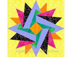 Indian Summer paper piecing quilt pattern, paper pieced quilt block pattern, instant download, star quilt pattern, star pattern