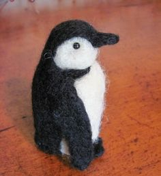 Felted Penguin - Etsy seller BlueBerrie