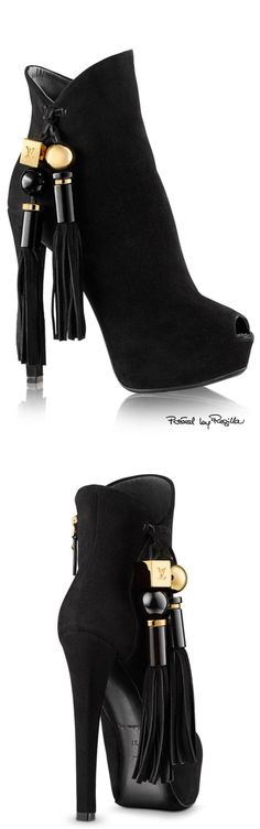 Louis Vuitton ~ Black Suede High Heel Boots w tassel, 2015