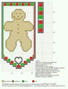 CHECKERED GINGERBREAD MAN VALANCE by KATHY CASSIDY Plastic Canvas Ornaments, Plastic Canvas Tissue Boxes, Plastic Canvas Crafts, Plastic Canvas Patterns, Xmas Crafts, Yarn Crafts, Perler Bead Emoji, Valance Patterns, Beaded Banners