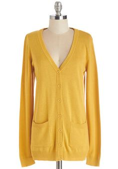 Have a Good Knit Cardigan in Saffron - Mid-length, Knit, Yellow, Solid, Pockets, Work, Casual, Long Sleeve, V Neck, Yellow, Long Sleeve, Spring