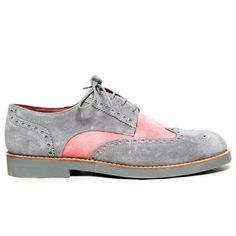 Grey and Salmon Suede Wingtips by Del Toro - lifestylerstore - http://www.lifestylerstore.com/grey-and-salmon-suede-wingtips-by-del-toro/