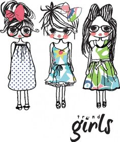 girls sketches with dress