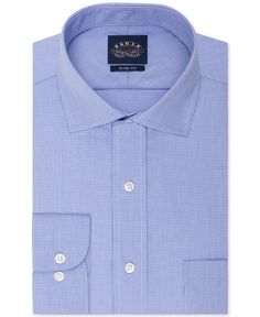 Eagle Slim-Fit Non-Iron Blue Micro Houndstooth Dress Shirt