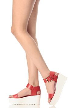 a463111a34b582 Red Faux Leather Ankle Strap Platform Sandals   Cicihot Sandals Shoes  online store sale Sandals