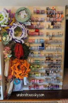 Ribbon Storage Solution - - So, I make a ton of wreaths, and each wreath includes a ton of ribbons, which equals rolls and roll - Wreath Storage, Ribbon Storage, Craft Room Storage, Craft Organization, Tape Storage, Ribbon Organization, Storage Racks, Scrapbook Organization, Wreath Supplies