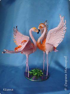 Игрушка Свадьба Вязание крючком Фламинго Авторское описание игрушки Пряжа фото 3