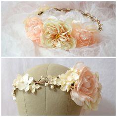 Bridal head piece wedding flower crown ivory by gardensofwhimsy, $70.00