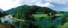 Descenso en canoa del río Sella . Es la actividad estrella del turismo activo en la Comarca de Los Picos de Europa . El recorrido va desde Arriondas hasta cerca de Ribadesella, unos 14 km y se proporciona picnic y transporte de vuelta al punto de partida. La actividad tiene una duración media de 4 horas y si el estado del río lo permite, se realiza durante todo el año .Esta foto está tomada desde la Nacional 634 cerca de la pasarela de Cuevas a unos 7 km de Casa Rural El Trechal