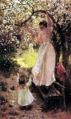 It's About Time: Friends & Family in the Garden..Hamilton Hamilton (1847–1928) Falling Apple Blossoms