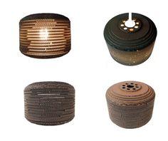 BECZKA 303 - LAMPA Z KAROTNU / BECZKA 303/ Średnica: 30 cm / Wysokość: 23 cm / Dolny otwór : 18 cm / cardboard lamp; #light #interior #home #design #homedesign #cardboard