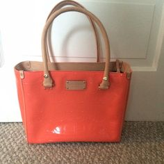 Kate Spade coral tote ‼️ SALE ‼️ Kate Spade coral patent leather tote . Like new -in beautiful condition. kate spade Bags Totes