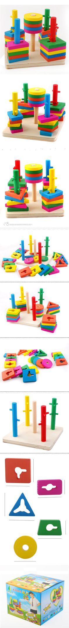Varejo brinquedos infantis atacado 1pc Yakuchinone madeira coluna de brinquedo blocos de anéis forma de construção preço de fábrica rápido frete grátis em Blocos de Brinquedos & Lazer no AliExpress.com | Alibaba Group