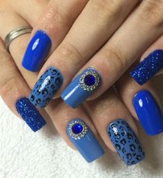 """If you like to wear blue nails it means that for you are important things that are superficial and also stability. The blue color is not so free to take it send message """"I'm in charge, and I do not care what you think about it."""""""
