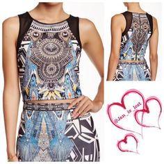 "SPRING CLEARANCE Crop Top NWOT - Crew neck - Sleeveless - Back zip closure - Allover print - Contrast mesh detail - Approx. 16"" length Fiber Content: 95% polyester, 5% spandex Jealous Tomato Tops Crop Tops"