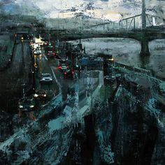 """Tibor Nagy, Nocturne, 23.6"""" x 23.6"""" An evening look at the riverside of the Danube River."""