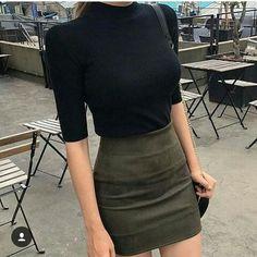 High waisted mini skirt // mock neck tee// details // women's fashion