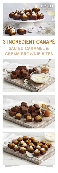 These quick and easy sweet canapés are made with brownies, salted caramel and a dollop of double cream Tesco Christmas Canapes, Christmas Party Food, Christmas Buffet, Christmas Treats, Party Canapes, Snacks Für Party, Canapes Recipes, Canapes Ideas, Catering Recipes