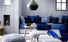 Interieurtrend 2012 - denim als kleur en stof voor kussens, zetels en plaids!