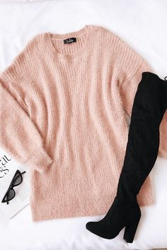 Get extra cozy in the Lulus Slater Blush Pink Fuzzy Sweater Dress! Fuzzy, medium-weight eyelash knit shapes this balloon sleeve sweater dress. Mode Outfits, Dress Outfits, Casual Outfits, Sweater Dresses, Sweater Dress Outfit, Girly Outfits, Office Outfits, Classy Outfits, School Outfits