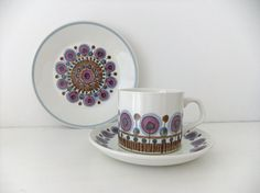 J & G Studio Meakin trio - cup saucer and side plate in Rondo pattern #peonyandthistle