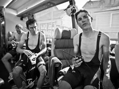 SCOTT MITCHELL - TOUR STAGE 16 GALLERY Geraint Thomas and Peter Kennaugh on the Sky bus