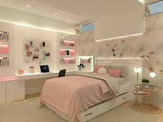 Room Design Bedroom, Girl Bedroom Designs, Room Ideas Bedroom, Home Room Design, Small Room Bedroom, Bedroom Decor For Teen Girls, Teen Bedroom Colors, Teenage Room Decor, Small Room Design