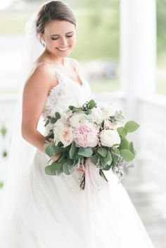 Audrey Rose Photography with Courtney Inghram Virginia Wedding Floral Designer at the Historic Post Office Wedding with blush and white bouquet with peony, ranunculus, eucalyptus greenery, blush silk ribbon streamers, dusty miller. Large fluffy bridal bouquet for blush and white Virginia wedding with floral design by Courtney Inghram. Peony bouquet. Peony bride bouquet. Peony wedding bouquet. June summer white and romantic blush wedding. Wedding bouquet with peony and eucalyptus greenery.