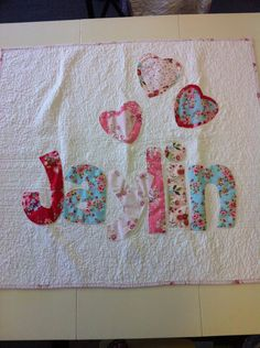 Personalized name quilt for baby, appliqued quilt for children