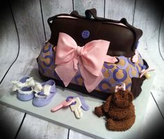 Coach Diaper Bag with Bear, Baby Shower Cake