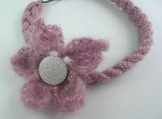 bandeau (headband) rose pétillant avec fleur amovible au crochet