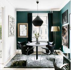 Green Dining Room from Elle Decor Green Dining Room, Dining Room Paint, Living Room Green, Dining Room Design, My Living Room, Interior Design Living Room, Design Interiors, Green Rooms, Green Kitchen