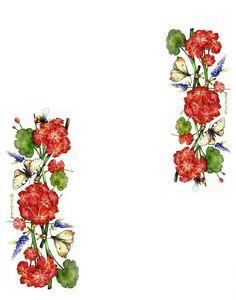 Borde - flores rojas
