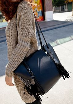 tan sweater - black bag