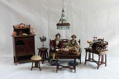 Puppenstuben Salon, Jugendstil, Moritz Gottschalk um 1910, Erzgebire Ausstattung in Antiquitäten & Kunst, Antikspielzeug, Puppen & Zubehör   eBay!