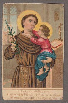 SAINT ANTHONY OF PADUA  antique  holy card chromos