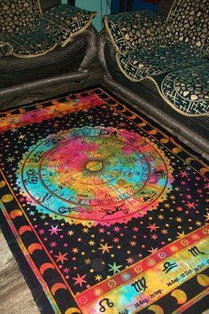 Zodiac Indian Throw Art Tapestry Wall Hanging Hippie Astrology Mandala Bedspread #Handmade #BedspreadTapestry
