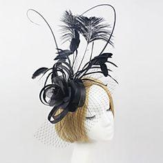Women Feather/Net Luxury Black Flowers With Wedding/Party Headpiece