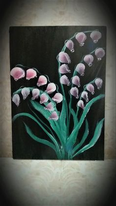 One stroke painting purple flowers on black backround.