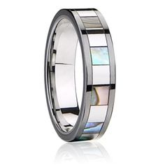 tungsten carbide jewelry rings Inlay shell+ceramic Polished shiny