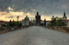 Charles bridge   Prague   Czech Republic.  It's very difficult to see Charles bridge deserted like this!   http://www.iconhotel.eu/en/contact/location