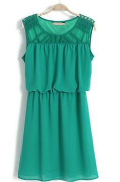 Green Sleeveless Hollow Shoulder Bandeau Dress pictures