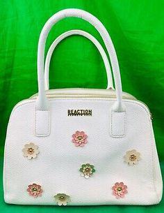 KENNETH COLE REACTION WHITE SATCHEL HANDBAG Purse With FLOWER APPLIQUÉS | eBay Leather Satchel Handbags, Satchel Purse, Black Handbags, Purses And Handbags, Applique, Travel Handbags, Diy Purse, Tote Backpack, Lady