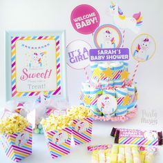 Magical Unicorn Baby Shower Party Set - Editable Printable Party Set By Partymazing - Partymazing